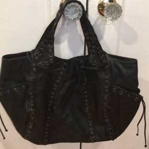 Black riveted Kooba shoulder bag